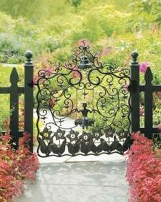 beautiful garden gate from: Buttercup Bungalow: Little pink cottage: let's take a tour!