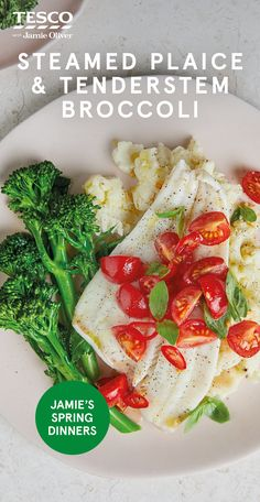 """Jamie says: """"You can't beat steamed fish and veg for a quick meal that can be rustled up during the week."""" Find more healthy dinner recipes at Tesco Real Food. Healthy Cooking, Healthy Meals, Healthy Dinner Recipes, Family Recipes, Family Meals, Tenderstem Broccoli, Tesco Real Food, Broccoli Recipes, Quick Meals"""