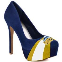 A classic pump with attitude. The Classic by HERSTAR platform pump representing Denver Nuggets team colors and logo. This style is available in beautiful, rich shades for top teams of the season.Orders placed by 2pm will be shipped on the same day!  •Sizing runs 1/2 - full size small, we suggest ordering a larger size • Easy slip-on wear. • Luscious suede upper. • Almond toe. • Soft man-made lining. • Lightly cushioned man-made footbed. • Wrapped platform and heel. ...