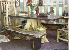 walnut log table with stump leg and benches