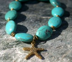 Turquoise Unisex Bracelet with Starfish - Unisex, Man's Bracelet, Ocean.  Available at www.Etsy.com/shop/KnuckleheadKnobs