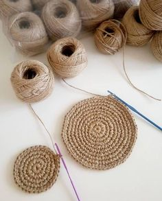Have you noticed that natural jute decor is bang on trend right now? In this tutorial, you'll learn how to crochet the rounds and create a stunning contrast between the natural jute and metallic.natural jute twine rope cord non polished gift wrap pac Knitting Projects, Crochet Projects, Diy Projects, Knitting Patterns Free, Crochet Patterns, Hemp Yarn, Rope Crafts, Twine Crafts, Decor Crafts