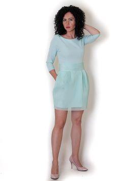 Sukienka z siateczką miętowa SzafoMania: Modne sukienki wieczorowe, weselne, karnawałowe, sklep internetowy
