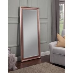 This Sandberg Furniture Rose Gold Full Length Leaner Floor Mirror is a beautiful addition to the contemporary living counter or bar. Rose Gold And Grey Bedroom, Rose Gold Room Decor, Rose Gold Rooms, Gold Bedroom Decor, Gold Home Decor, Living Room Decor, Bedroom Wall, Pink And Grey Room, Glam Bedroom