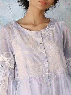 Buy Powder Blue Shibori Dyed Cotton Mul Kurta cum Dress online at Theloom