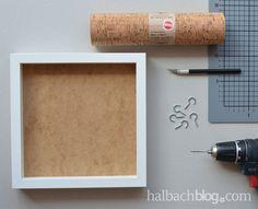 halbachblog I DIY Tutorial I selbstklebender Korkstoff I Schlüsselbrett mit Haken und Ablage I Natur, Weiß