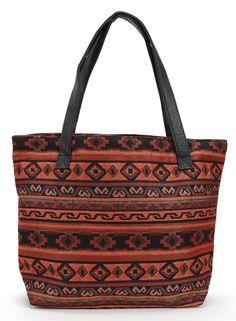 Aztec Inspired print tote bag<br>Dimensions: 17L x 13H [$10.95]