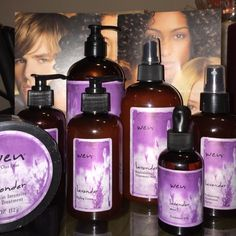 WEN LAVENDER CLEANSING CONDITIONER STYLING SET WEN LAVENDER BUNDLE SET INCLUDES FULL SIZE ITEMS:  one 4 oz REMOIST INTENSIVE TREATMENT, sealed,  one 2 oz TREATMENT OIL WITH DROPPER, one 12oz REPLENSHING TREATMENT MIST, one empty small container for REPLENSHING MIST BOTTLE TO CARRY IN PURSE, one 6 oz STYLING CREAM & one half full 6 oz STYLING CREAM, one 6 oz VOLUMIZING TREATMENT SPRAY, one 16oz LAVENDER CLEANSING CONDITIONER, products are new and LAVENDER, the lavender is just not my…
