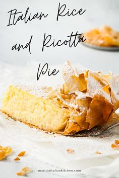 Italian rice and ricotta pie encased in phyllo dough. Although traditionally served during the Easter holiday this creamy and custard-like pie is simply wonderful all year round. Apple Dessert Recipes, Sweets Recipes, Snack Recipes, Easter Desserts, Easter Recipes, Pie Recipes, Breakfast Recipes, Snacks, Italian Pasta Recipes
