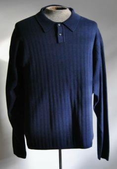 Men's J Ferrar Navy Blue 100% Cotton Long Sleeve Golf Polo Shirt Size XX-Large