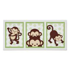 Canvas Painting Ideas with Polka Dots | Pop Mod Monkey Polka Dot Nursery Wall…