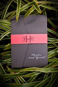 Virginia Wedding Invitations | Coral & Gray | Pocket Fold | Monogram