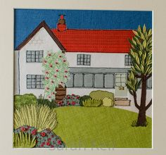 A free motion embroidered house ... and the original photo that provided the inspiration ...