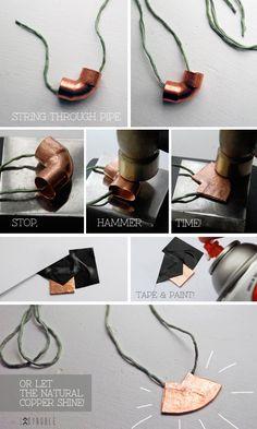 DIY copper fitting jewelry