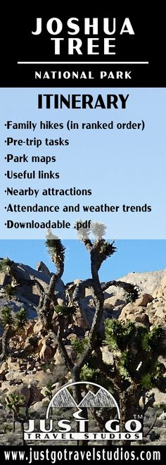 Our Joshua Tree National Park itinerary will help you get started on your planning!  We've poured hours into our itinerary so you don't have to.  Learn about the best family hikes, what to do on your vacation in the area nearby area and what to do before you even arrive!