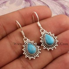Real Blue Copper Turquoise AAA+Quality Gemstone Earring Cabochon Stone Boho Earring 925-Antique Silver Earring,Wedding Earring Gift For Her