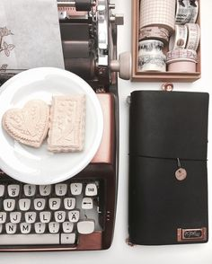 """handmade """"Springerle"""" ~ kind of anis biscuits from my grandma<3~ with my rosegold typewriter and my beloved black Midori <3 . . #farbenmonk #midori #fauxdori #pedori #websterspages #lettering #scrapbooking #romantic #vintage #journal #journaling #stationery #stationeryaddict #penpals #snailmail #washitape #travelersnotebook #midoritravelersnotebook #typewriter #handlettering #travel #calligraphie #rosegold #plannersociety #filofax #winter #bakery"""