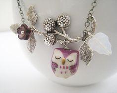 Owl  Necklace Purple porcelain owl and berry by lunashineshine, $23.00