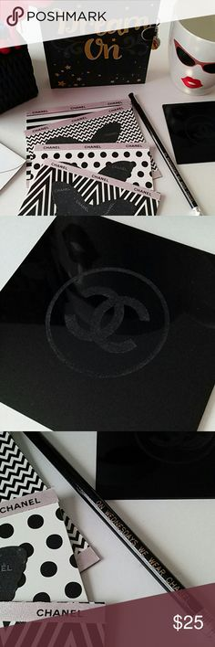 """My Chanel Office What a elegant way to be fashionable and functional at the office! You will receive 4 handmade Black Tie Glossy Cards with white envelopes. They are made using Authentic Chanel pink shimmer ribbon and a Authentic Chanel card stock die-cut into a butterfly. The cards are blank within so you can write for business, pleasure, office birthdays, etc.  Will also receive a black pencil stenciled with """"ON WEDNESDAYS WE WEAR CHANEL"""". Why? Because we do! Lol... And one Authentic…"""