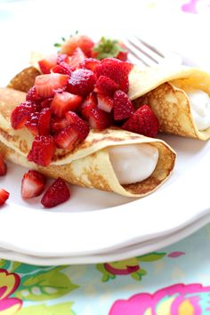Strawberry Lemon Yogurt Blintzes - Need a different crepe recipe and filled with strained greek yogurt/agave
