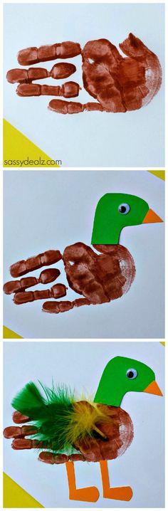 Duck Handprint Craft for Kids #Mallard #DIY #Kids art project   http://www.sassydealz.com/2014/02/duck-handprint-craft-kids-2.html
