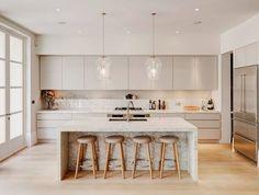 White Kitchen Cabinets, Kitchen Cabinet Design, Modern Kitchen Design, Interior Design Kitchen, Kitchen Countertops, Kitchen White, White Kitchens, Kitchen Designs, Marble Countertops