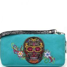 Sugar Skull Wristlet Wallet - TURQ $21.95 http://www.sparklyexpressions.com/#1019
