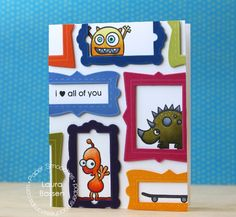 Card by PS DT Laura Bassen using PS Fancy Frames stamps/dies, Little Fella