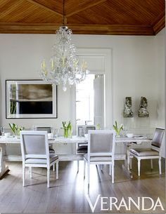 Holden. Dining Room original wood ceiling stripped and bleached. Antique Venetian Chandelier and Swedish Dining Table. Chairs, Nancy Corzine, in Jerry Pair Leather.