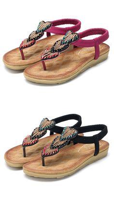 US$22.31 SOCOFY Heart Shape Rhinestone Clip Toe Flat Casual Sandals