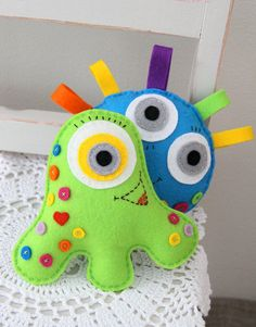 Patrón de costura PDF 3 monstruos feliz juguetes por Plushka