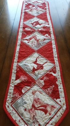 Elegant and Fun Quilted Christmas Table Runners. 5 to choose from. Made with high quality cotton. Professionally top stitched and machine binded. First Picture: White binding 12 x 52 Second Picture: Red Binding 12 x 52 Third Picture: 11.5 x 60 Fourth Picture: 21 x 21 Table Square