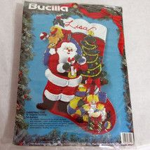 Bucilla Christmas Eve 83114 Felt Applique Christmas Stocking Kit 1994 Santa - €30,39 EUR
