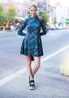 Purple and blue printed dress, green platforms