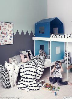värikäs,lastenhuone,ideoita,kerrossänky,säilytys