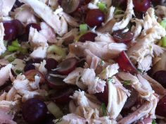 Summer party fare. Curried Chicken Salad #recipe with grapes from author @LucyBurdette KEY WEST FOOD CRITIC MYSTERIES on Mystery Lovers' Kitchen