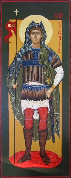 San Fabio il vessillifero icona per mano di Maria Marciandi (Italy)