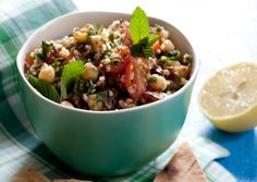 Mixed-Grain Tabbouleh with Roasted Eggplant, Chickpeas, and Mint   Vegetarian Times