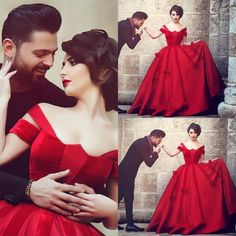 New Style Plus Size Arabic Wedding Dresses 2016 Hot Red Chapel Train Bridal Gowns Off Shoulder Satin Garden Beach Color Wedding Ball Online with $129.06/Piece on Hjklp88's Store | DHgate.com