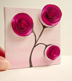 These are perfect little canvas paintings with 3D  paper flowers AND a place for a note card on the back. So perfect!