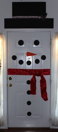 Frosty the doorman :) Cute idea for decorating a classroom door or dorm room door at Christmas time.