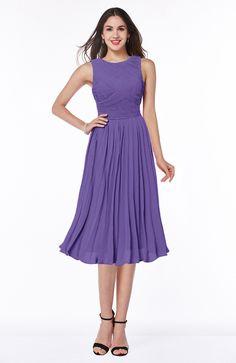 Lilac Bridesmaid Dress - Modern A-line V-neck Sleeveless Tea Length Pleated Plus Size