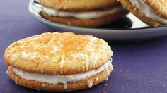 Betty Crocker® SuperMoist® cake mix and vanilla pudding make this delightful sandwich cookies filled with Betty Crocker® frosting - a perfect dessert for Halloween.