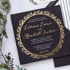 This 2-ply Irish inspired wedding invitation suite is striking to say the least. A charcoal square is edge painted in gold foil which accentuates the foil pressed wreath and couples names. A mixture of whimsical and block fonts in gold foil and white makes up the text of the invitation. A pinstripe liner adds a fun pattern to the envelope. The RSVP and any additional insert cards are printed in a charcoal font on an ivory paper.