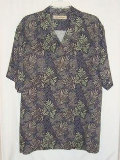 TOMMY-BAHAMA-100-Silk-Hawaiian-Aloha-Short-Sleeve-Mens-Camp-Shirt-Size-Lg