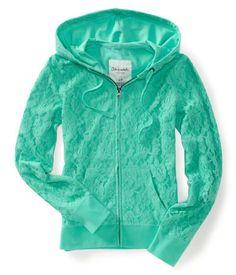 Floral Lace Full-Zip Hoodie