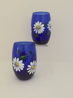 Items similar to Hand Painted Wine Glasses, Daisies, Cobalt Blue, Stemless, Special Ocassions on Etsy Blue Wine Glasses, Hand Painted Wine Glasses, Bottle Painting, Bottle Art, Flower Pot Art, Cobalt Blue, Glass Art, Daisy, Arts And Crafts