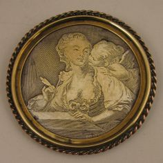 Antique French Etched Brooch of Décolleté Lady w/ Cupid
