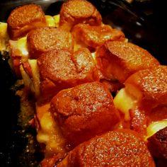 Lovey's Hammy Sammys :) Hawaiian rolls cut in half put deli ham & swiss then put tops on. Take 2tbsp Dijon mustard, 2tbsp brown sugar, 1tbsp worschestire sauce, 2tbsp poppyseeds & 1 stick butter, melt in microwave & pour over sandwiches. Bake 350 for 20min...one word AMAZING!! Its dinner & a splash of dessert in one!