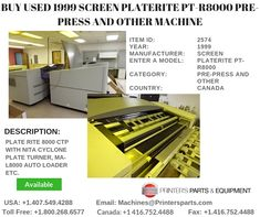Printer's Parts & Equipment Offer 1999 SCREEN PLATERITE PT-R8000 Pre-Press and Other Machine at worldwide. For more nformation, call us @ 1-800-268-6577 / 1-416-752-4488 French Door Refrigerator, Printer, Kitchen Appliances, Plates, Home Decor, Diy Kitchen Appliances, Licence Plates, Dishes, Decoration Home